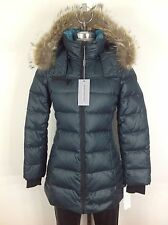 Andrew Marc NWT Teal Slimming Coyote Fur Hooded Hypoallergenic Down Jacket