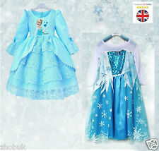 New Frozen Elsa Anna Costume Disney Princess Girls Fancy Outfit Age 3 - 8 Years