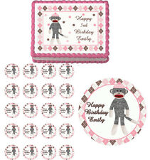 PINK SOCK MONKEY  Edible Party Birthday Cake Topper Cupcake Image Decoration