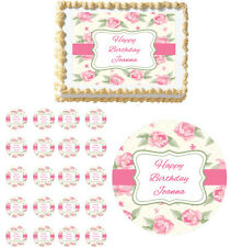 Vintage Roses Anniversary Mother's Day Edible Birthday Party Cake Topper Cupcake