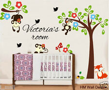 Cot side Tree & MONKEYS, FREE Personalised Name wall sticker for KIDS / NURSERY