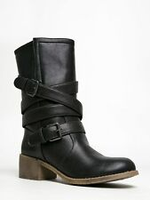 NEW DIRTY LAUNDRY CHECK IT OUT Women Strappy Mid Calf Moto Biker Boots sz Black