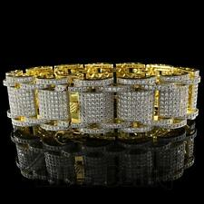 18K Gold FULL ICED OUT MICROPAVE Prong Set Hercules AAA Lab Diamond MEN Bracelet