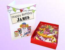 PERSONALISED GIFT BOX OF SWEETS GREETING CARD, BIRTHDAY,ANNIVERSARY,WEDDING ETC