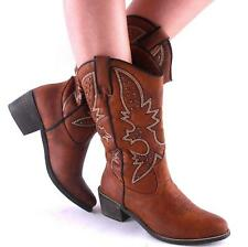 New Womens Chestnut Studded Embroidered Classic Cowgirl Boots