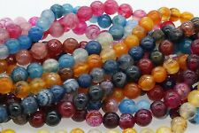 """15"""" Strand New Faceted Round Agate Beads Natural Gemstone Barcelet Findings 8mm"""