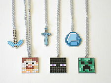 Minecraft Necklaces STEVE ENDERMAN CREEPER PICKAXE SWORD DIAMOND.....