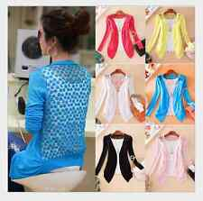 Women's Sweet Candy Lace Crochet Knit Blouse Cardigan Shirt Coat Sweater Tops