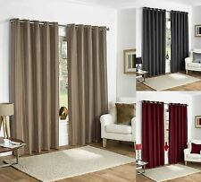 THERMAL RING TOP FULLY LINED BLACKOUT READY MADE CURTAINS EYELET PAIR GREY TAUPE