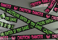 *HALLOWEEN PARTY 6M BLACK WARNING FRIGHT TAPE DECORATION BANNER GARLAND DISPLAY*