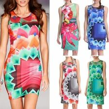 Sleeveless Color Puzzle Dresses Sexy Women Dress Casual Vestidos Colorful Print