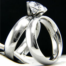 1.28 CT Solitaire CZ Engagement 316L Stainless Steel Wedding Bridal CZ Rings Set
