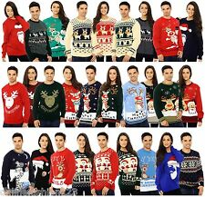 Mens Ladies Jumper Sweater Retro Christmas Xmas Reindeer Novelty Fairisle