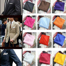 Fashion Chic Mens Silk Satin Plain Solid Color Pocket Square Hankerchief Hanky