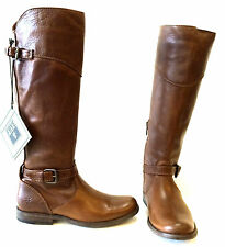 FRYE PHILLIP RIDING COGNAC BROWN SOFT VINTAGE LEATHER  KNEE HIGH BOOT