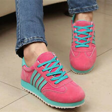 Womens Fashion Sneakers Lace UP Low Heel Creeper Platform Roma Collegiate Shoes