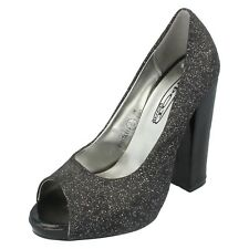 SALE WAS NOW Ladies Spot On black glitter peep toe court shoe F1917