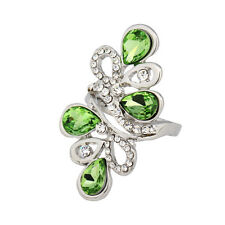 New Hot Jewelry Waterdrop Gemstone Inlay Crystal Silver Tone Ring Party Gift