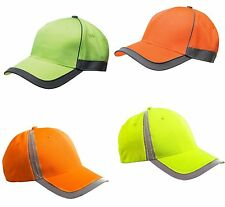SAFETY, HIGH VISIBILITY CAP, HAT, YELLOW, ORANGE, LIME, REFLECTIVE STRIPE, OSFA