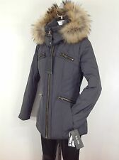 Andrew Marc Black Label NWT Steel Gray Racoon Fur Trim Hooded Down Jacket sz S,L