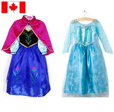 Frozen Disney Princess Girl Queen Elsa Anna Costume Halloween  Dresses 2 to 8 Y