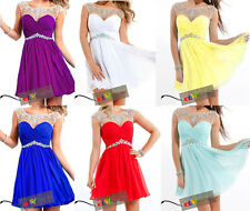 Mini Short Beaded Chiffon Bridesmaid Party Gown Cocktail Prom Homecoming Dresses