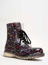 NEW DIRTY LAUNDRY ROADIE Women Clear Floral Laced Ankle Rainboot sz Black Flower