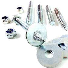 M6 x 50mm WOOD TO METAL DOWELS + NYLOC NUT + WASHERS FURNITURE FIXING SCREWS BZP