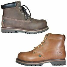 Mens Safety Work Lace Up Boots Brown Leather Steel Toe Cap Ankle Shoes Size 6-12