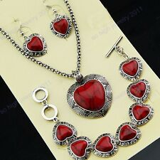 Heart Red Turquoise Stones Necklace Bracelet Earrings Women Vintage Jewelry Set