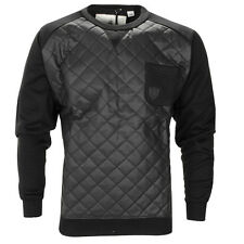 Mens Soulstar Quilted PU Leather Look Crew Neck Long Sleeve Sweatshirt Top Size