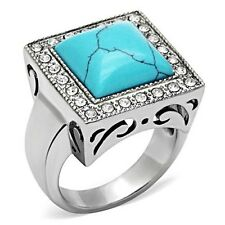 Large Stainless Steel Men's Square CZ Reconstituted Turquoise Ring - Sizes 8-13