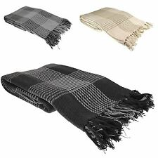 Super Soft Tartan Throw 100% Cotton Plaid Check Bedspread, Black Grey Natural