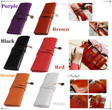 New Retro Vintage Roll Leather Make Up Cosmetic Pen Pencil Case Pouch Purse Bag