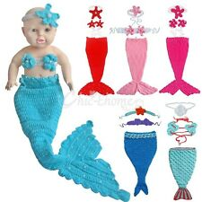 Little Mermaid 3PCs Infant Baby Girl Xmas Outfit Crochet Tail Costume Photo Prop