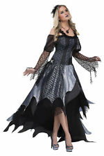SPIDER QUEEN ADULT WOMENS COSTUME Elegant Gown Dress Black Theme Party Halloween