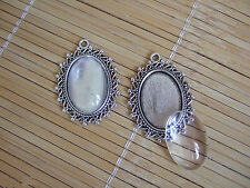 Anti-Silver Oval Cameo Setting Pendant Trays With 18x25mm Glass Cabochon