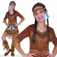 Childs Girls Wild West Native American Indian Squaw Fancy Dress Costume