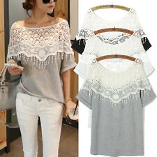 XL-5XL Oversized Women Lace Hollow Shawl Collar Batwing Sleeve Top Shirt Blouse