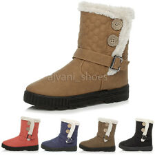 WOMENS LADIES CALF ANKLE HOOK & LOOP BUTTON QUILTED WINTER SNOW FUR BOOTS SIZE