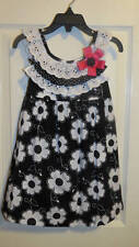NEW Rare Editions Black White Flower Print Dress  2T or 4T