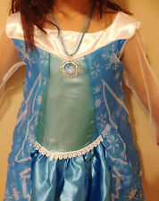 US SELLER! ELSA COSTUME PLAY DRESS 3T 4T 5T 5 6 7 FREE NECKLACE FROZEN MOVIE