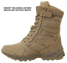 "DESERT TAN 8"" Forced Entry Tactical BOOTS Side Zip Military SWAT Army Navy USMC"