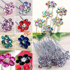 10x Colorful Rhinestone Flower Wedding Party Bridal Hairpin Hair Clip Accessory