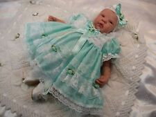 HANNAHS BOUTIQUE BABY MINT SPOTTY FRILLY DRESS & HEADBAND -ALL SIZES AVAILABLE-