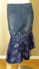 WEST 36TH DARK BLUE FLORAL LACE GLITTER BEADED PEARL DENIM JEANS SKIRT 3715