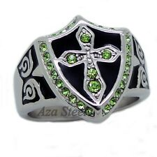 MEN Silver Green Crystal Cross Noble Knight 316L Stainless Steel Ring