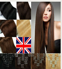 """UK Premium Clip in Remy Human Hair Extension 15"""" 18"""" 20""""22'' Many Colour Choices"""
