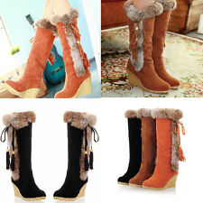 New  women's knee high boots fashion warm lining winter wedge girl's snow boots