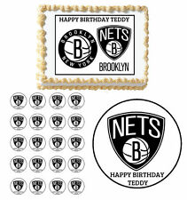 BROOKLYN NETS Edible Birthday Party Cake Topper Cupcake Decoration